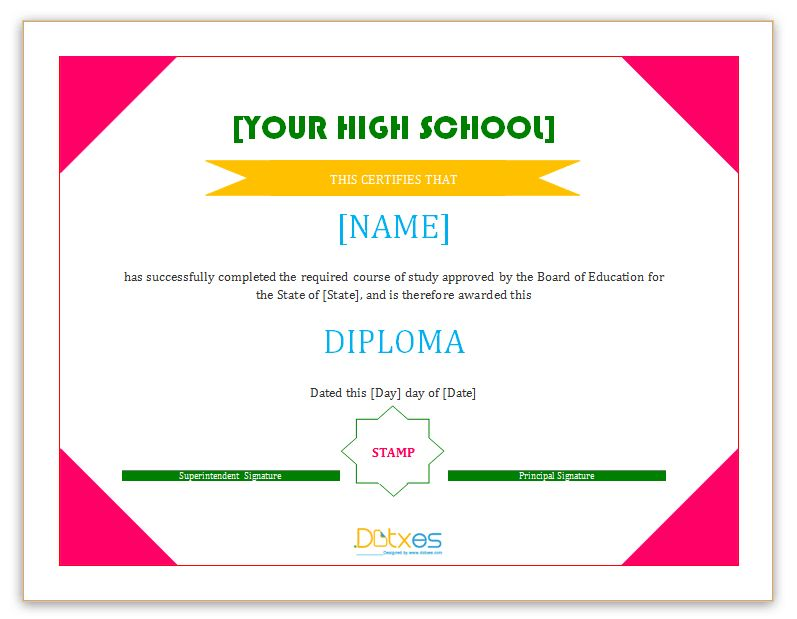 Diploma certificate template (High School) - Dotxes