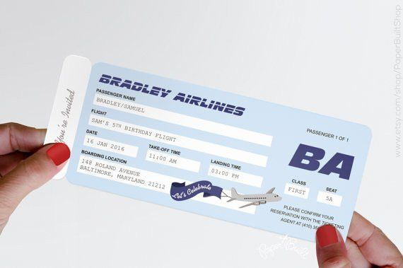 Airplane Party Airline Ticket Invitation Airline Ticket