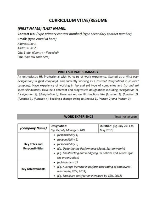 Resume/CV Sample Format - Human Resources HR (Work Experience ...