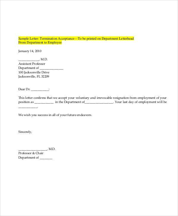 Sample Resignation Acceptance Letter - 6+ Examples in PDF, Word