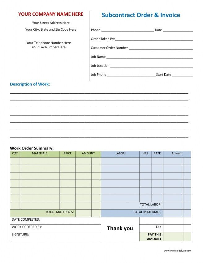 Work Invoice Template Free Word | Design Invoice Template