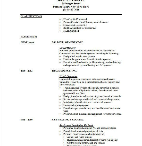 Pleasant Design Ideas Hvac Technician Resume 3 HVAC Resume ...