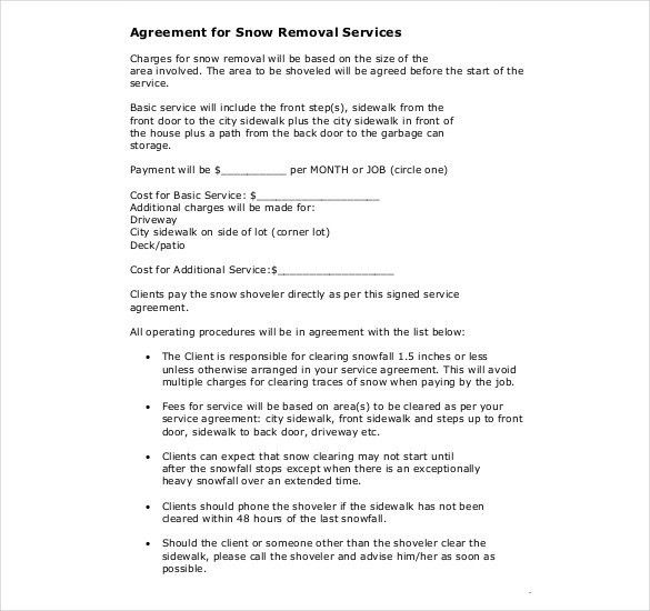 Snow Plowing Contract Template - 20+ Free Word, PDF Documents ...