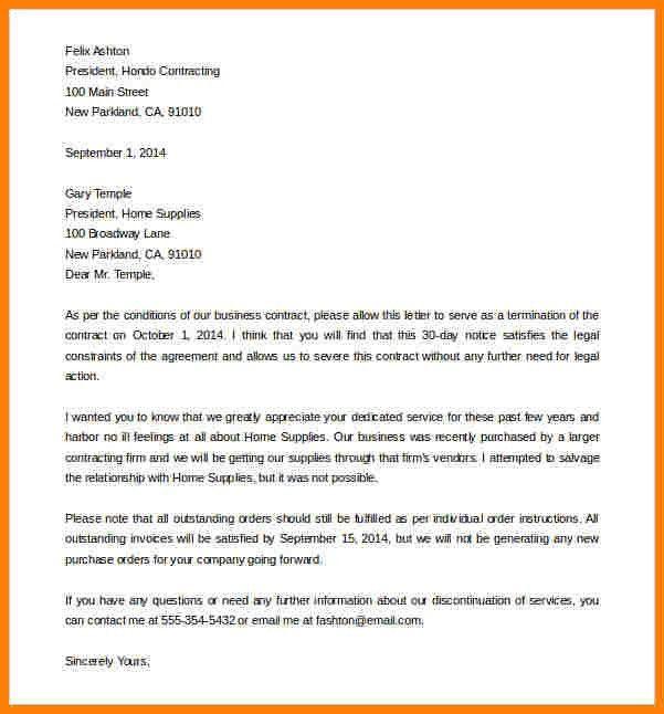 11+ termination letter sample | letter format for