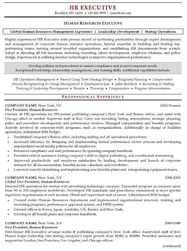 Resume Sample 20 - Human Resources Executive resume - Career Resumes