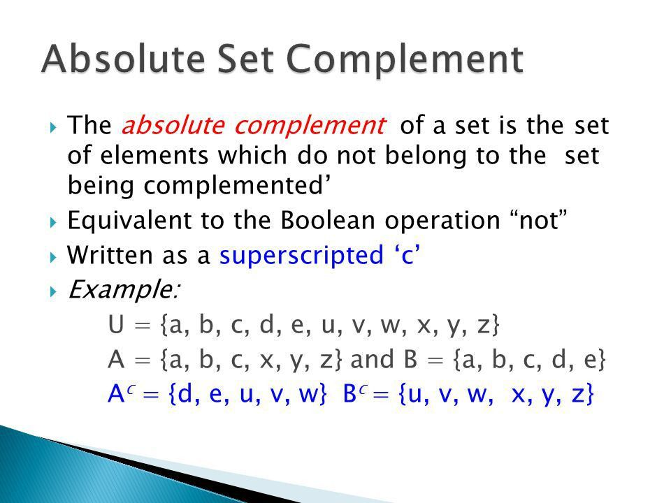Union  Intersection  Relative Complement  Absolute ...