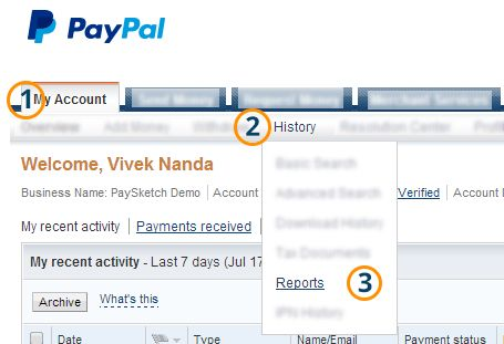 How to generate your PayPal monthly statement - PaySketch