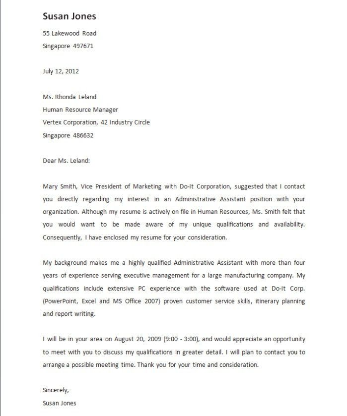 Referral Cover Letter] Referral Cover Letter Best Resume
