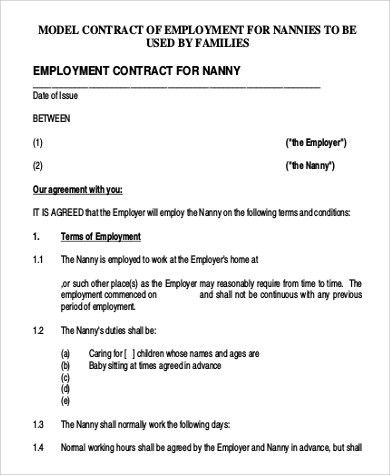 Sample Nanny Contract - 7+ Examples in Word, PDF