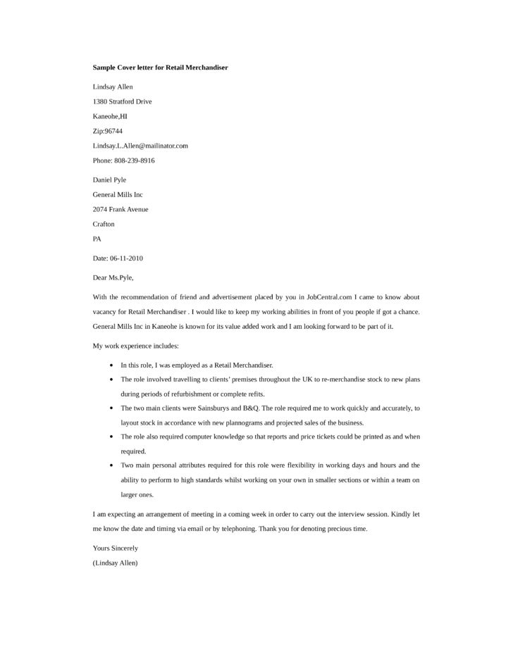 Basic Retail Merchandiser Cover Letter Samples and Templates