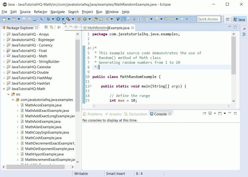 Java Math random() method example