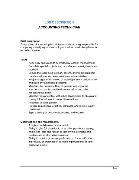 Accountant Job Description - Template & Sample Form | Biztree.com
