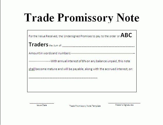 Note Payable Template | Formsword: Word Templates & Sample Forms