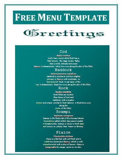 Menu Template Word Free