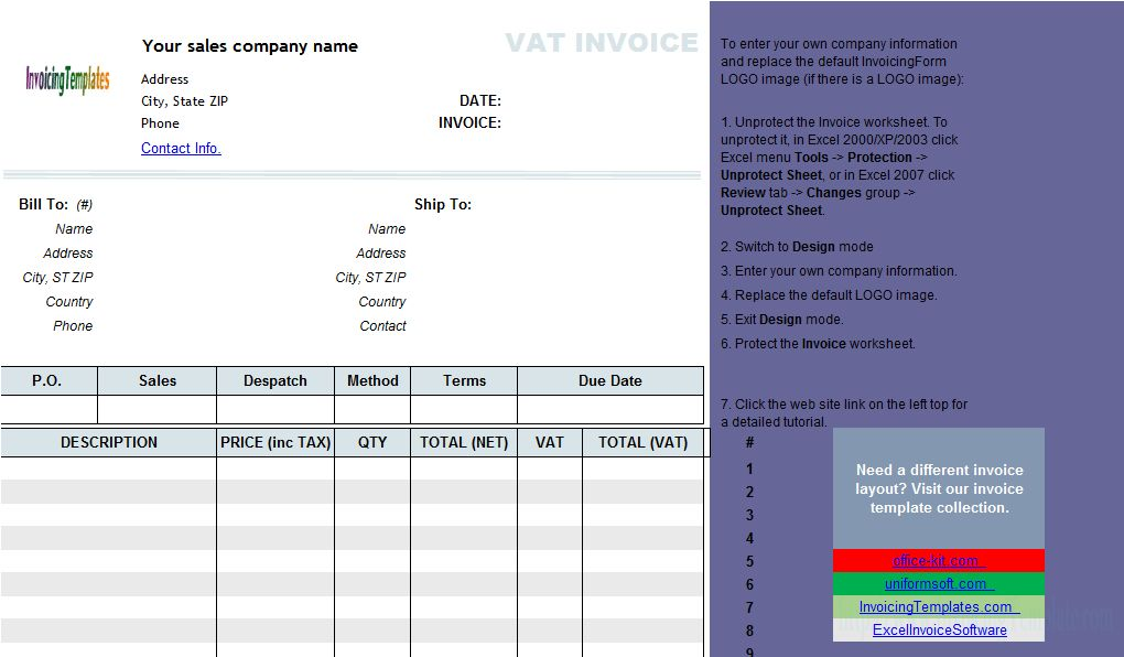 VAT Sales Invoice Template - Price Including Tax