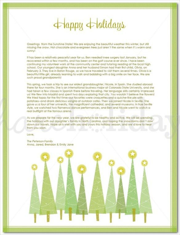Holiday Letter Template – 16+ Free Word, PDF, PSD, Format Download ...