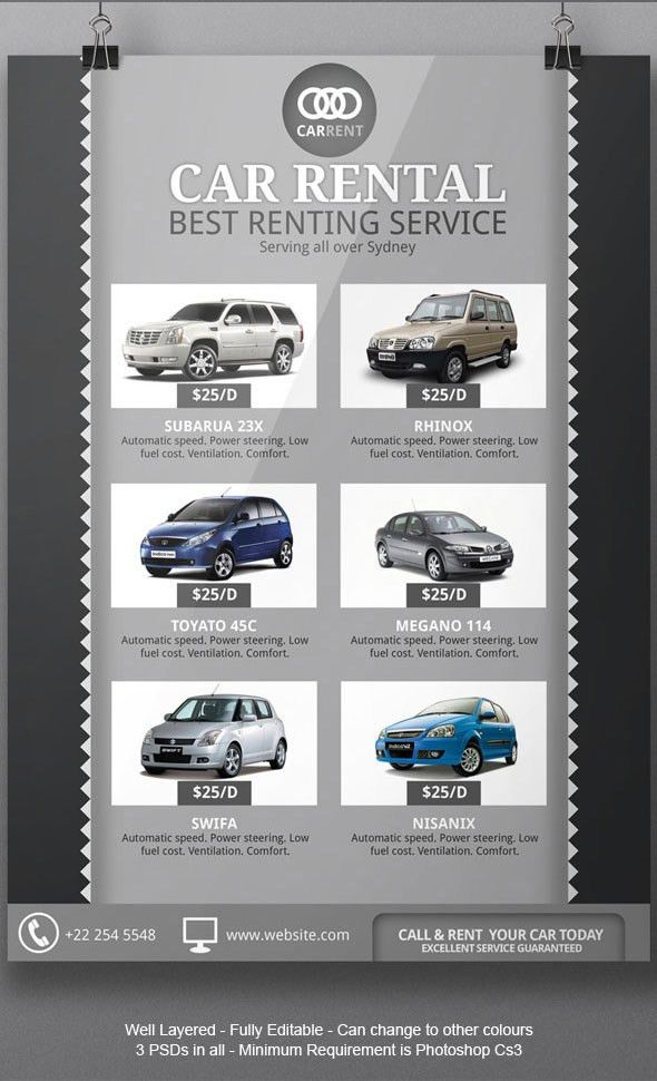 Rent A Car Flyer Template on Behance