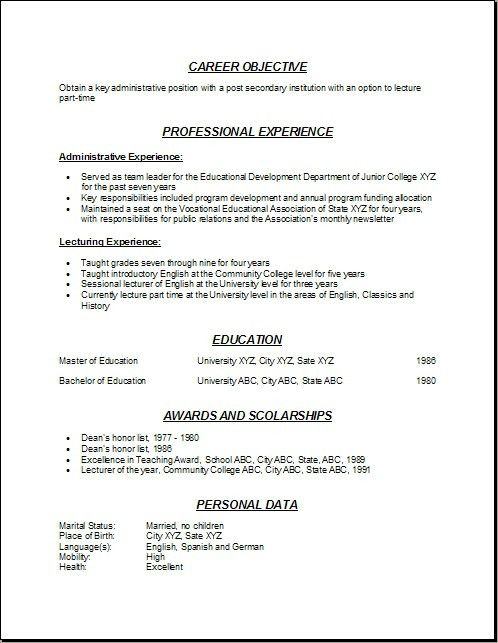 Resume For College Teaching Position With Sample Adjunct Professor ...