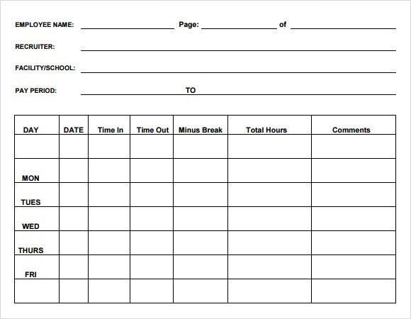 Sample Blank Timesheet - 6+ Documents in PDF