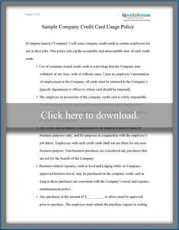 Sample Business Credit Card Use Policy