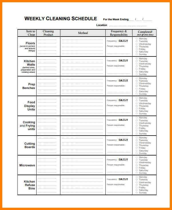 Cleaning Schedule Template. Weekly Schedule Template For Word ...