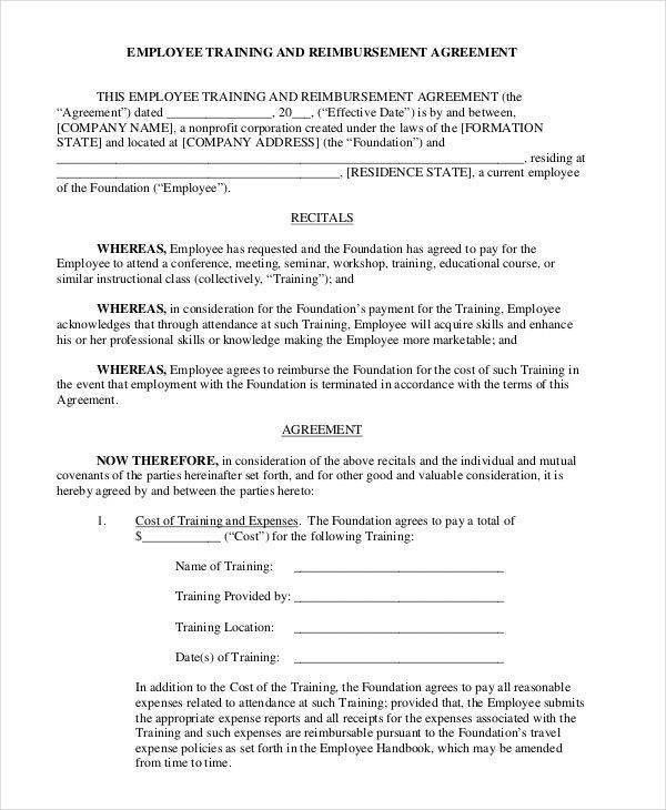Training Contract Template - 6+ Examples in Word, PDF
