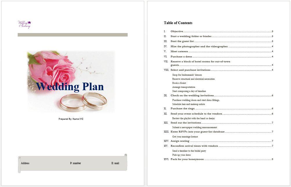 Wedding Plan Template | Microsoft Word Templates