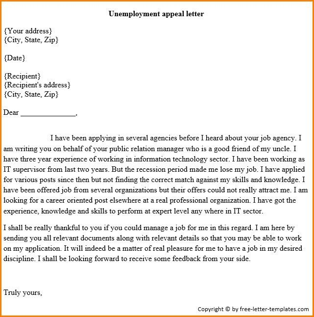 Free Unemployment Appeal Letter Template | The Letter Sample