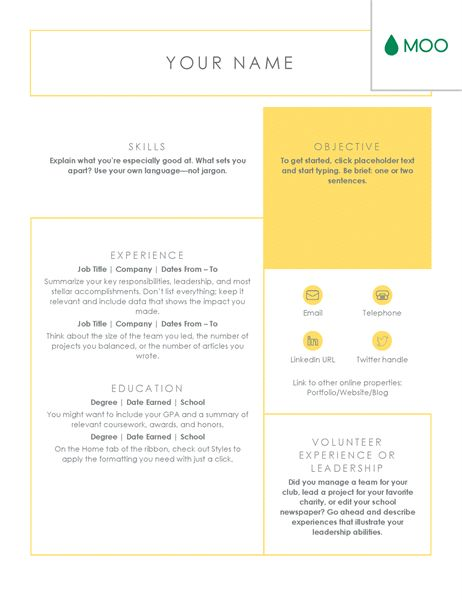 Crisp and clean resume, designed by MOO - Office Templates