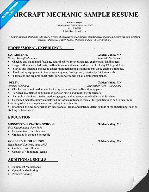 Aircraft #Mechanic Resume Sample (resumecompanion.com) | Resume ...