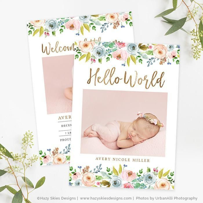 Girl Birth Announcement Template Photoshop Printable Photo Card ...