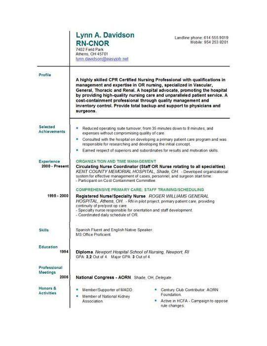 Good Registered Nurse Resume. professional operating room ...