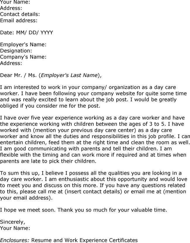 Download Sample Child Care Worker Cover Letter ...