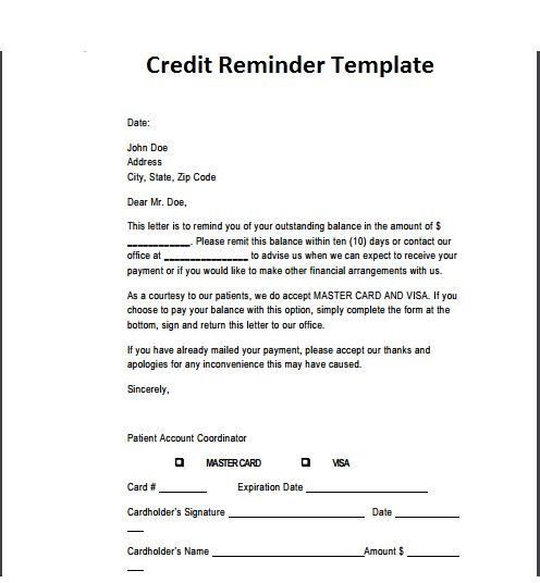 21+ Free Credit Reminder Template - Word Excel Formats