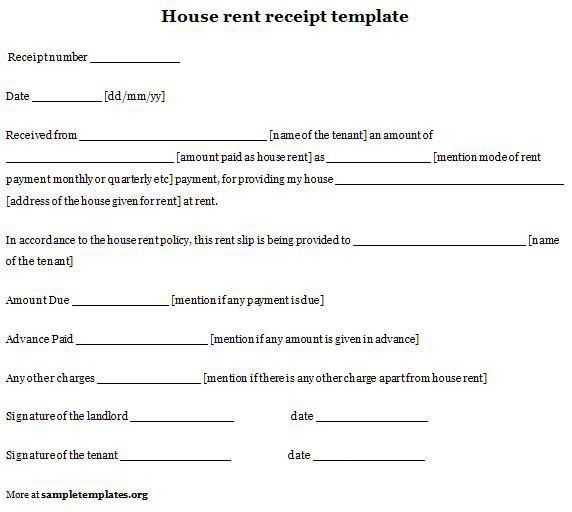 Formal Rental Property Receipt Template Examples : Vlcpeque