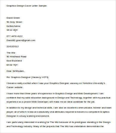 graphic design cover letter template