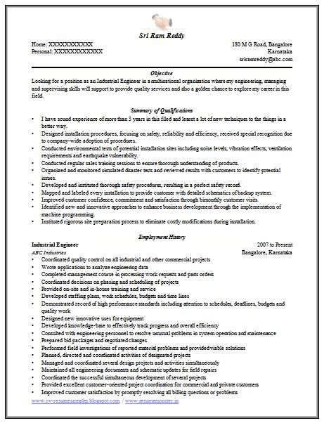 industrial engineering resume samples example industrial