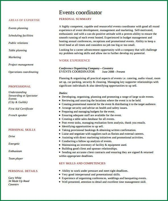 Event Planner Page1. Marketing Event Coordinator Resume. Event .