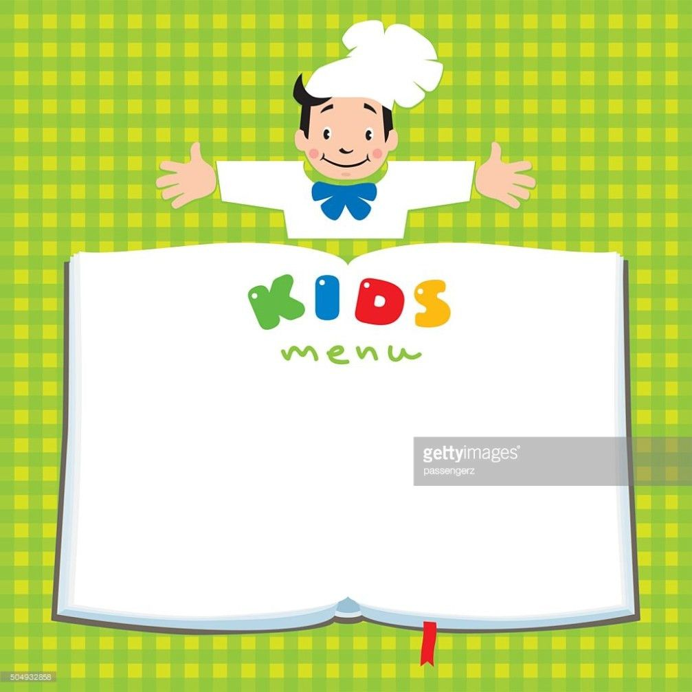 Design Template For Kids Menu With Funny Cook Boy Vector Art ...