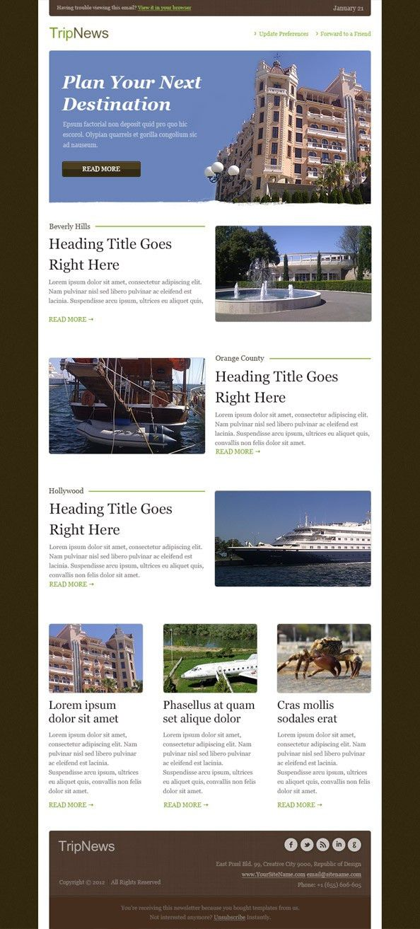Free Email Template #email #newsletter | Email Newsletter Designs ...