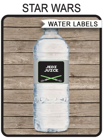 Star Wars Party Water Bottle Labels | Birthday Party