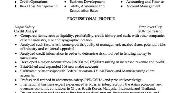 Credit Analyst Resume Sample - http://resumesdesign.com/credit ...
