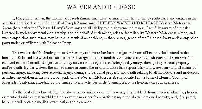 Example Document for Waiver and Release