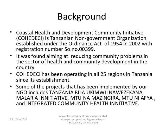 Sample of a Community Development project proposal writing