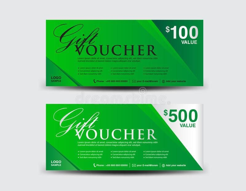 Green Gift Voucher Template, Coupon Design, Ticket,Discount Stock ...