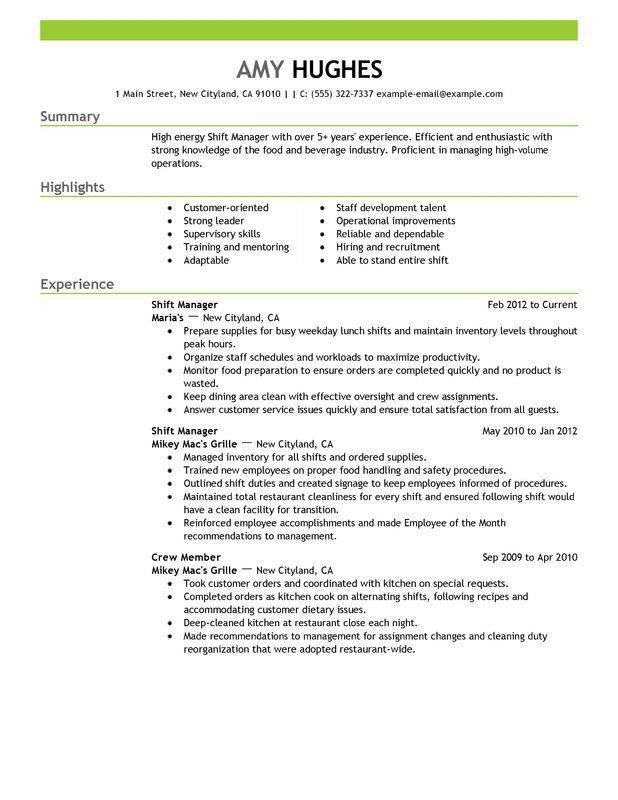 Unforgettable Shift Manager Resume Examples to Stand Out ...