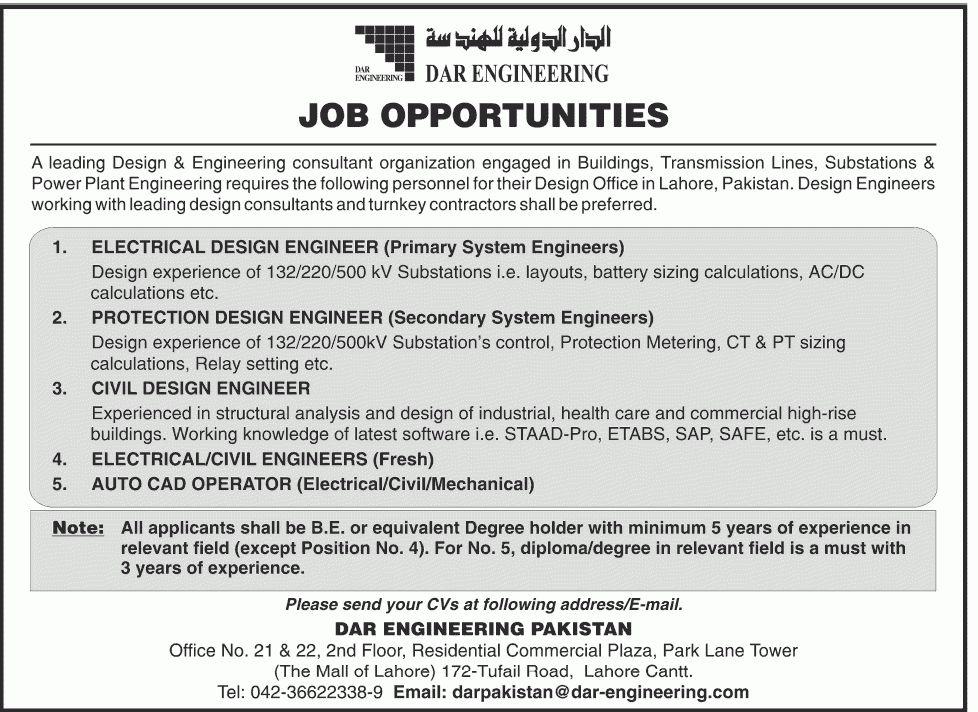 Engineer Job, DAR Engineering Pakistan Job, Civil Design Engineer ...