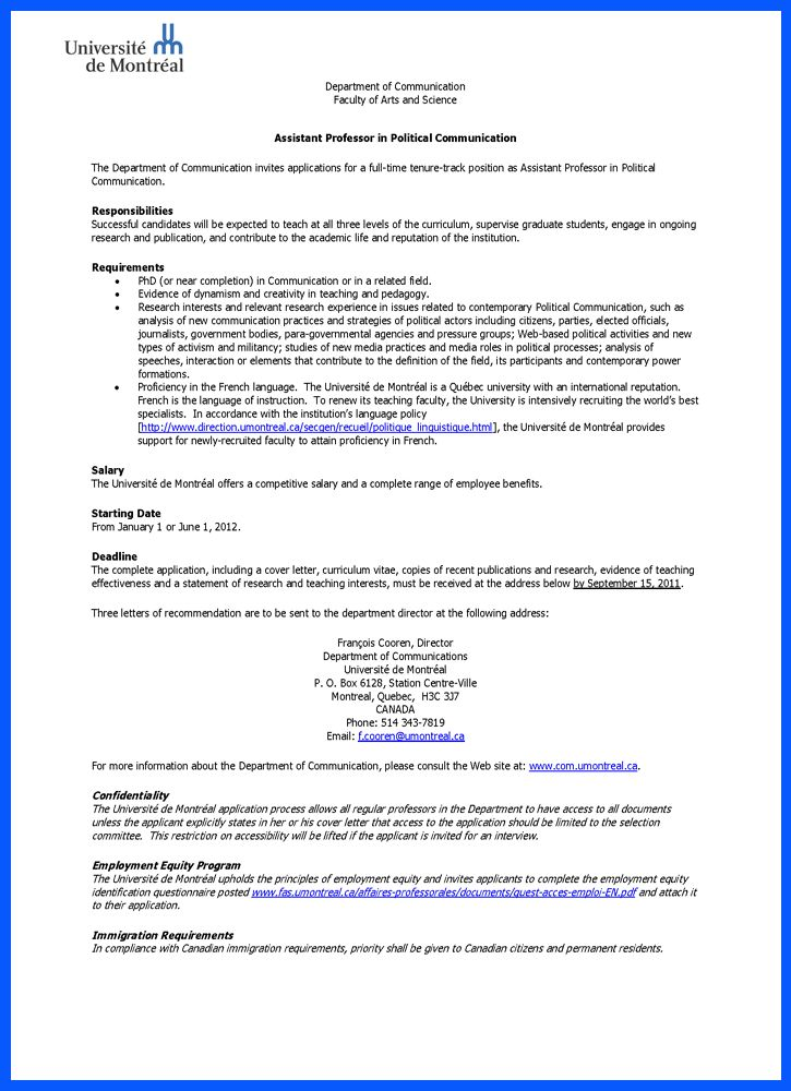 letter tenure track faculty position