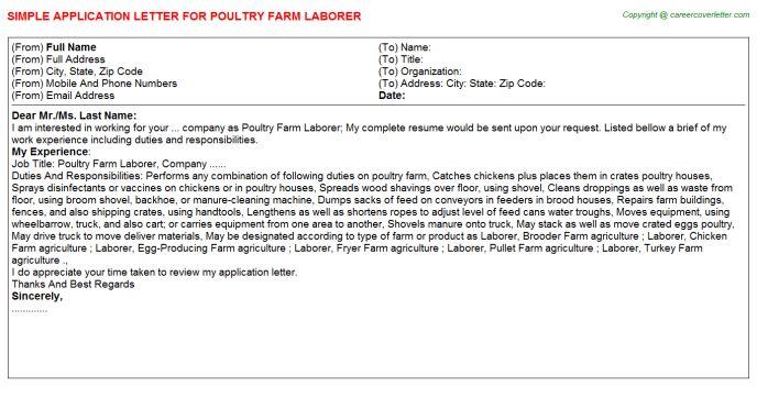 Poultry Farm Laborer Application Letter