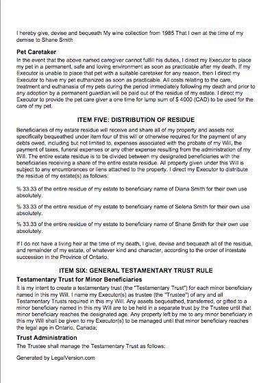 Last Will and Testament - Canada | LegalVersion
